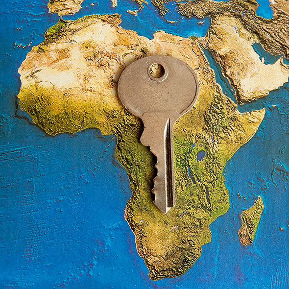 Africa map with key
